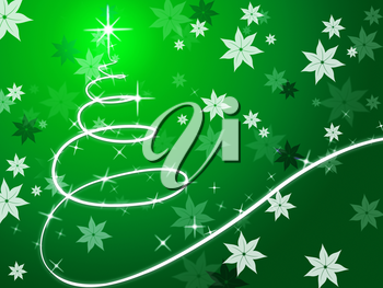 Green Christmas Tree Background Showing December And Flowers