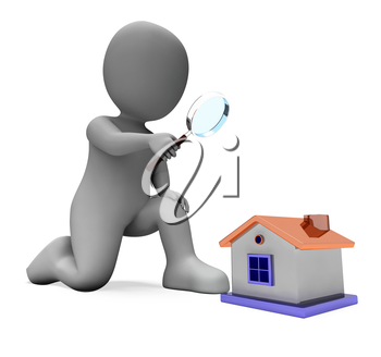 House Character Showing Inspect Surveying Searching Or Looking For Home