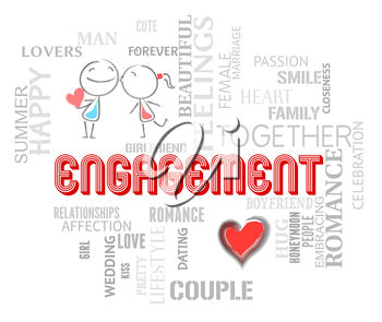 Engagement Couple Indicating Find Love And Romantic