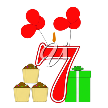 Number Seven Candle Showing Cupcakes Balloons And Presents