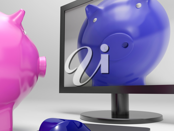 Piggy On Screen Showing Online Bank Savings