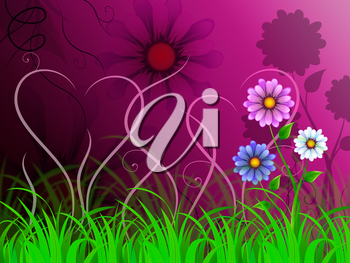 Flowers Background Showing Blooming Growing And Nature