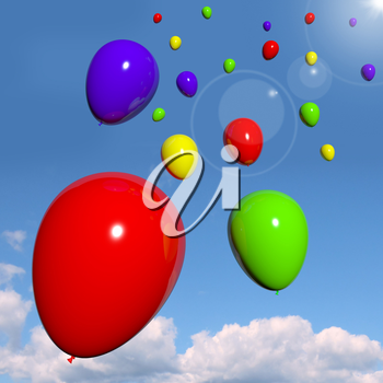 Festive Colorful Balloons In The Sky As Birthday Celebration