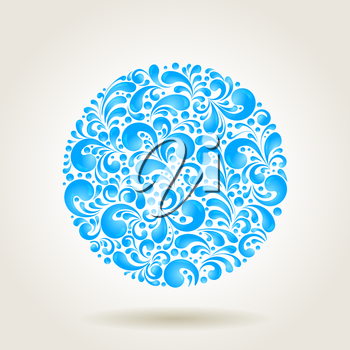 Circle water drops decoration made of swirls shapes, vector illustration