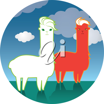 Lama and Lama Yarn Concept Design. EPS 8 supported.