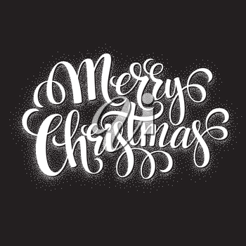 Black and White Christmas Card. Merry Christmas lettering EPS 10