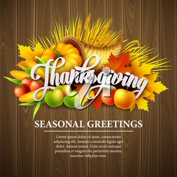 Illustration of a Thanksgiving cornucopia full of harvest fruits and vegetables. Vector EPS 10