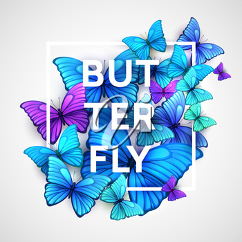 The modern poster with beautiful butterflies. Vector illustration EPS 10