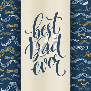 Happy fathers day background with greeting lettering and mustache. Vector illustration EPS10