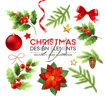 Christmas design elements set. Xmas decorations and objects. Poinsettia, fir branch, mistletoe berries, pinecone design elements. Christmas ball, ribbon and bow. Isolated vector detailed illustration
