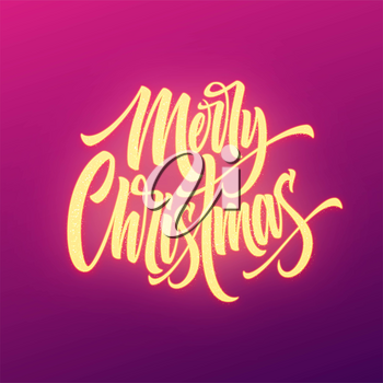 Merry Christmas neon lettering. Xmas greeting sign. Merry Christmas golden neon light with glitter on purple background. Xmas calligraphic text. Postcard, banner design element. Vector
