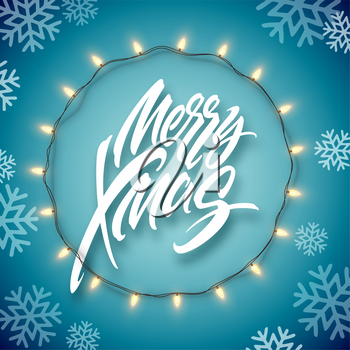 Christmas electric garland of light bulbs and merry christmas lettering on a blue background with snowflakes. Vector illustration EPS10