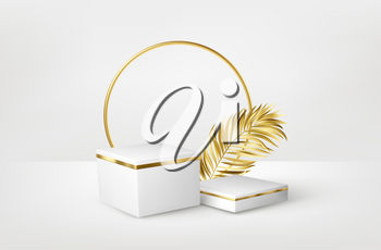 3d realistic white marble pedestal on white background with golden palm leaves. Empty space design luxury mockup scene for product. Vector illustration EPS10