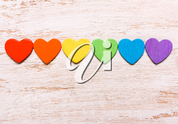 Hearts of rainbow colors on a white background. Symbol, LGBT flag