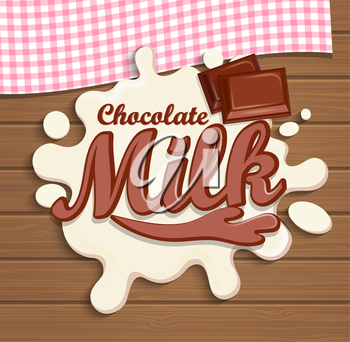 Milk chocolate splash with lettering on the wooden background, vector illustration.