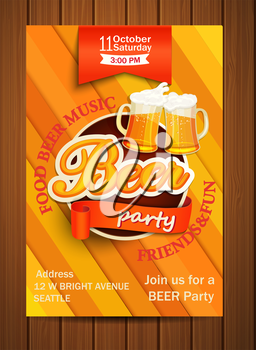 Beer party flyer., vectot illustration. EPS 10.