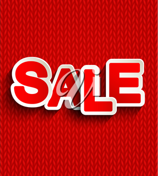 Concept of discount. Sale design on a red knitted background. Eps10. Vector.