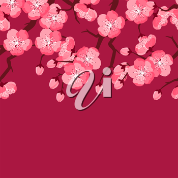 Japanese sakura seamless pattern with stylized flowers. Background made without clipping mask. Easy to use for backdrop, textile, wrapping paper.