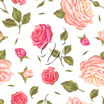 Seamless pattern with vintage roses. Decorative retro flowers. Easy to use for backdrop, textile, wrapping paper, wallpaper.
