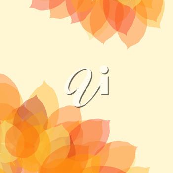 Autumn leaf background with space for text, vector illustration.