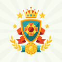 Background with ribbons and awards in flat design style.