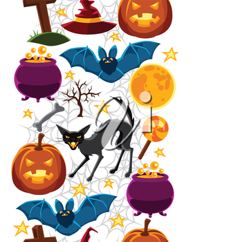 Happy halloween seamless pattern with characters and objects.