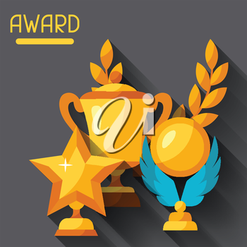 Sport or business background with award and trophy.