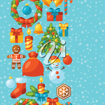 Merry Christmas holiday seamless pattern with celebration object.