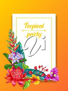 Invitation card with Thailand flowers. Tropical multicolor plants, leaves and buds.