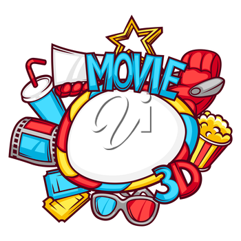 Cinema and 3d frame background in cartoon style.