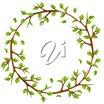 Summer frame with branches of tree and green leaves. Seasonal illustration.