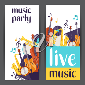 Jazz party live music banners with musical instruments.