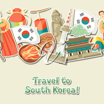 Korea seamless pattern. Korean traditional sticker symbols and objects.