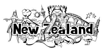 New Zealand print design. Oceanian traditional symbols and attractions.