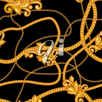 Seamless pattern with golden chains. Vintage luxury precious background.