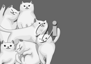 Background with cartoon white cats. Cute pets stylized illustration.
