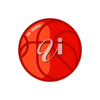 Icon of red basketball ball in flat style. Illustration isolated on white background.