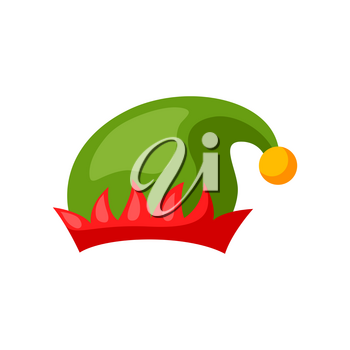 Merry Christmas hat of elf. Accessory for festival and party.