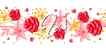 Seamless pattern with romantic flowers. Valentine Day background. Beautiful decorative plants and hearts.