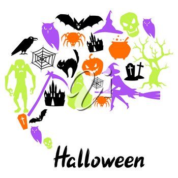 Happy Halloween greeting card with celebration items. Illustration or background for holiday and party.