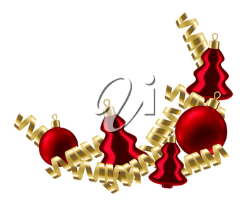 Merry Christmas background with balls and serpentine. Happy New Year celebration. Holiday gradient mesh illustration.
