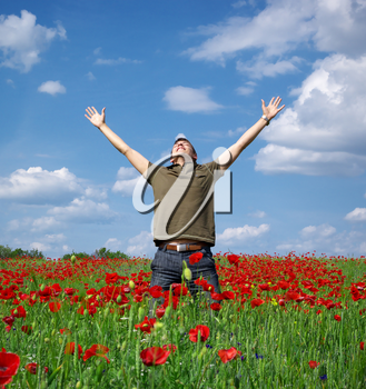 In poppy field. Emotion scene.