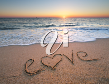 Love on the sea sand. Nature composition.