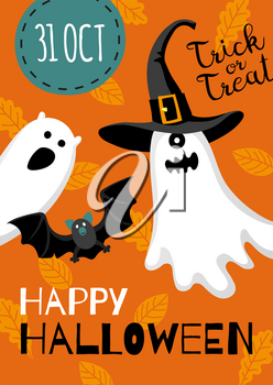 Halloween design. Invitation or greeting card. Banner template. Flat style vector illustration. Cute characters. Ghost in hat.