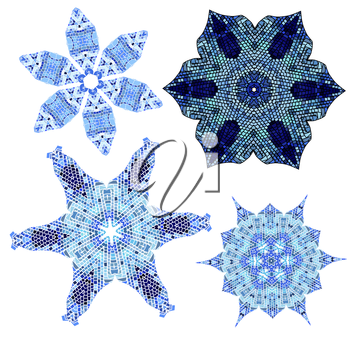 set of Lace  blue floral colorful ethnic ornament kaleidoscope