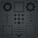 Vintage set of dark vector horizontal, square and round elements. Different elements for decoration design, frames, cards, menus, backgrounds and monograms. Classic patterns. Set of vintage patterns