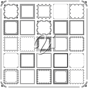 Vintage set of vector elements. Different square elements for decoration and design frames, cards, menus, backgrounds and monograms. Classic black and white patterns. Set of vintage patterns