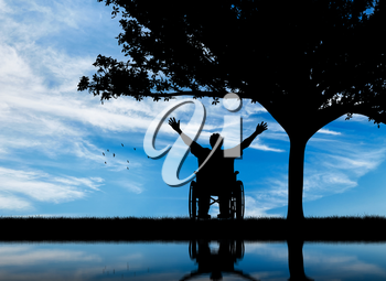 Concept of disability and disease. Silhouette happy invalid under the branches of a tree and reflection in water