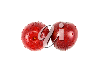 Two ripe juicy plum isolated on a white background