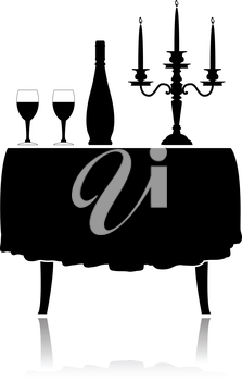 Silhouette romantic restaurant table with tablecloth, wine glasses, wine and candelabrum.